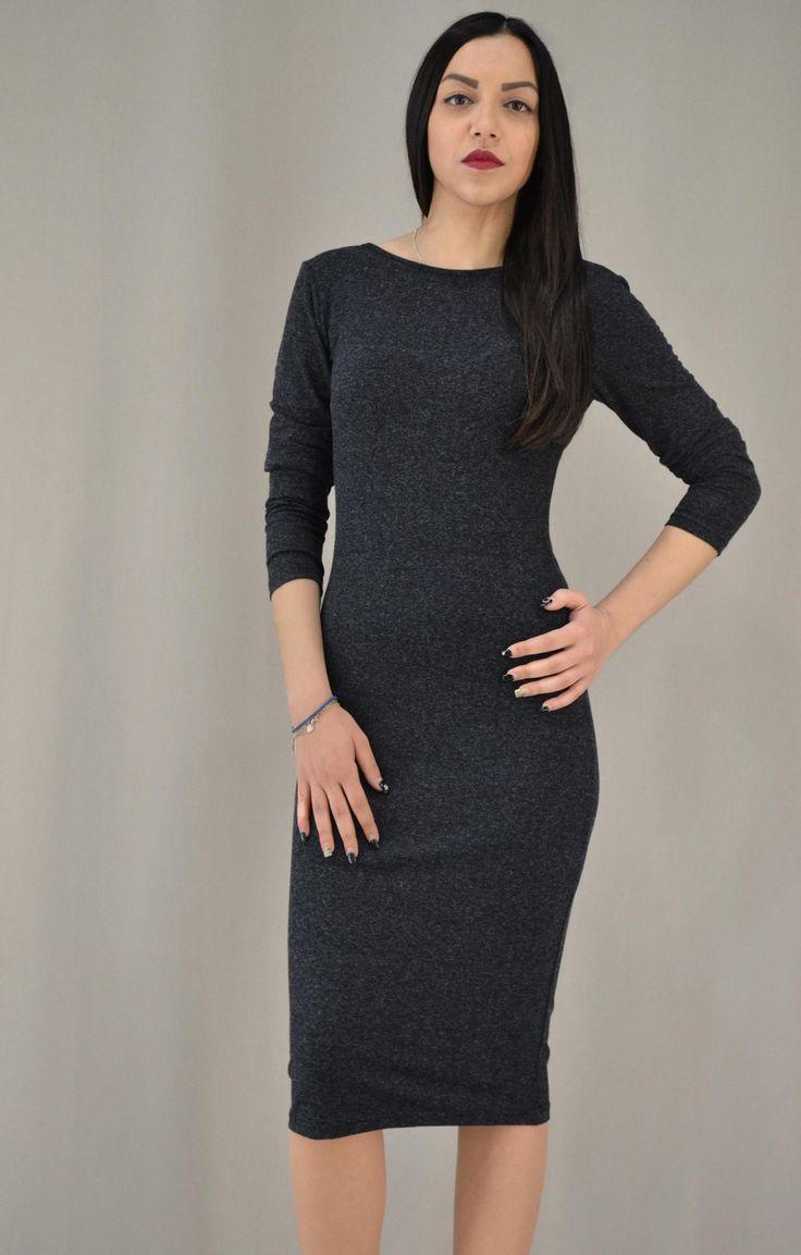 Γυναικείο φόρεμα μίντι με πλάτη βε | Φορέματα - Φορέματα - Ανθρακί