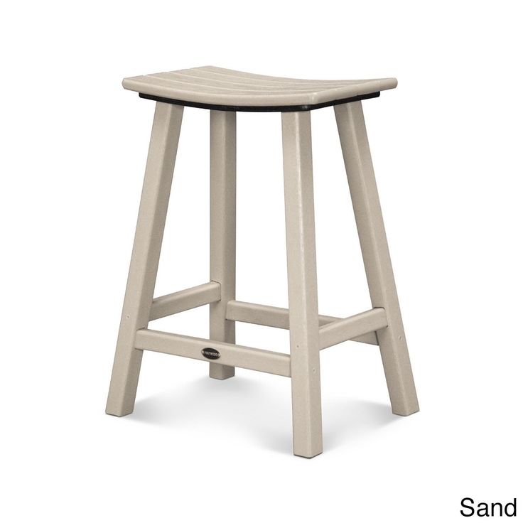 Polywood Traditional 24-inch Saddle Bar Stool (Sand), Beige, Patio Furniture (Plastic)