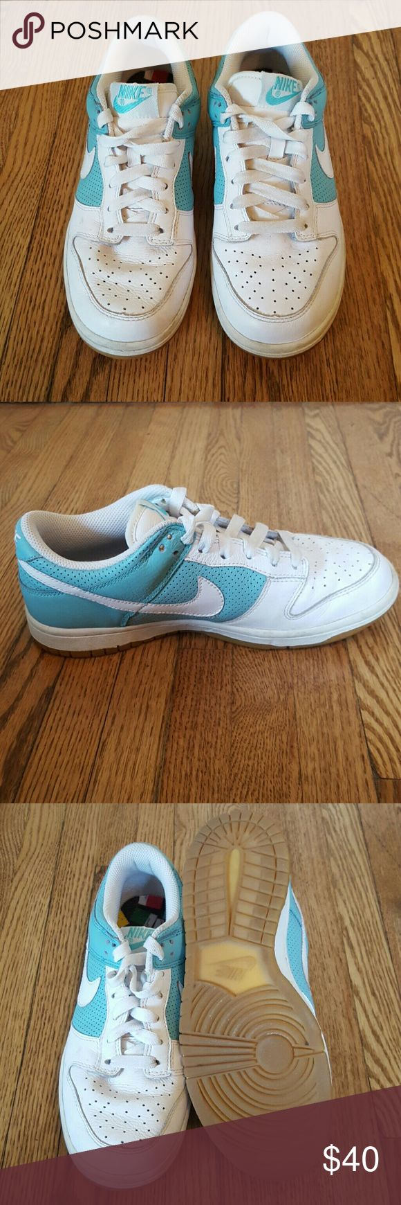 NIKE Air Force Ones White and teal Air Force Ones in great condition. Nike Shoes Sneakers