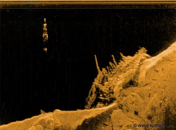Wreck man, a picture of rocky bottomformations and a figure of sheet metal. Made with a sidescan sonar. @kumlien.se  #sidescan sonar, lowrance lss-2, simrad, echoe, echogram, sonogram, underwater, art, bottom formations, figures, sheetmetal, descending, red