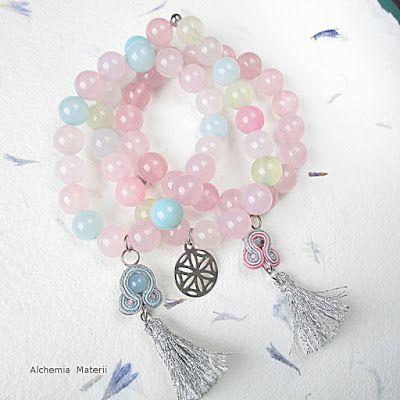 Pastel agat bracelets with soutache.