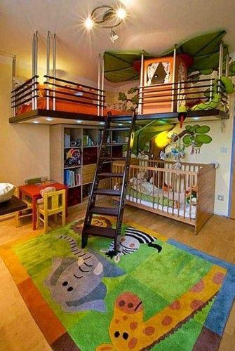 18 Ideen für eingerichtete Schlafzimmer für Kinder mit Tieren des Dschungels – Sabana
