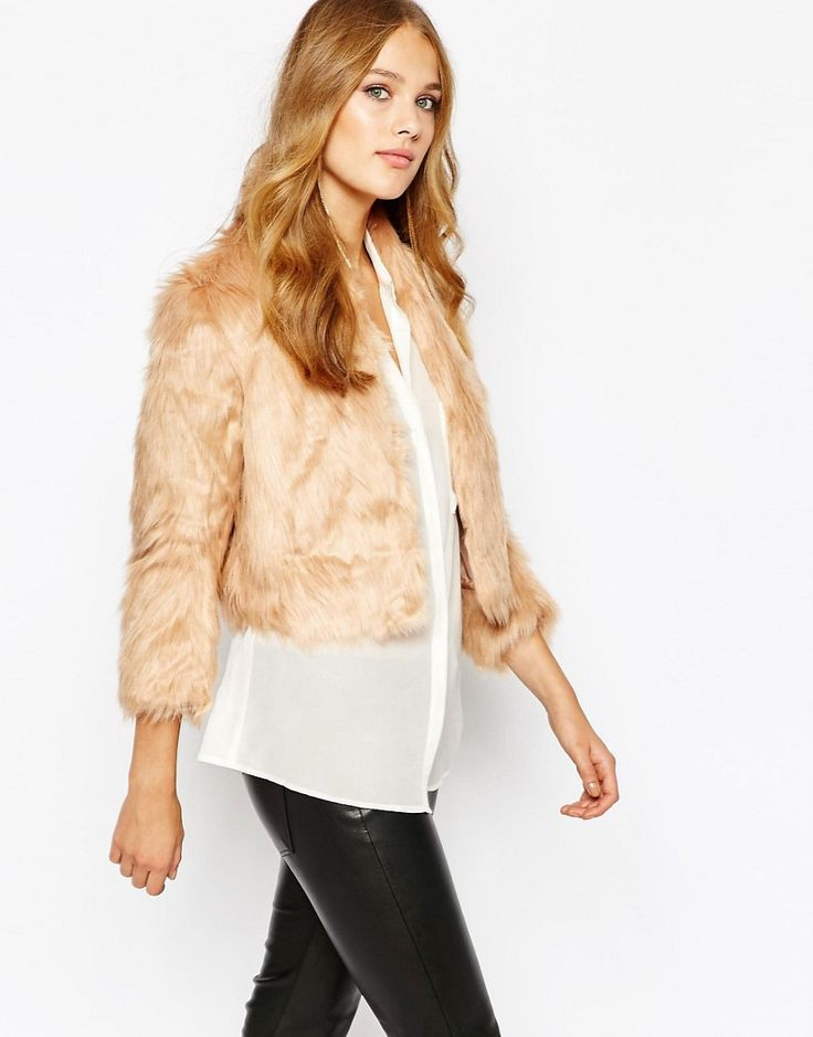 Image 1 of BCBGeneration Cropped Faux Fur Jacket in Blush