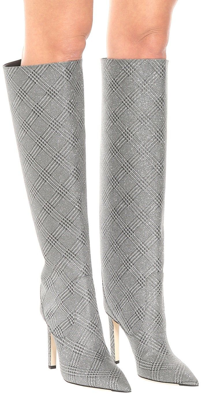 38bdcfa8847b JIMMY CHOO Mavis 100 glitter knee-high boots   Knee High Boots and ...