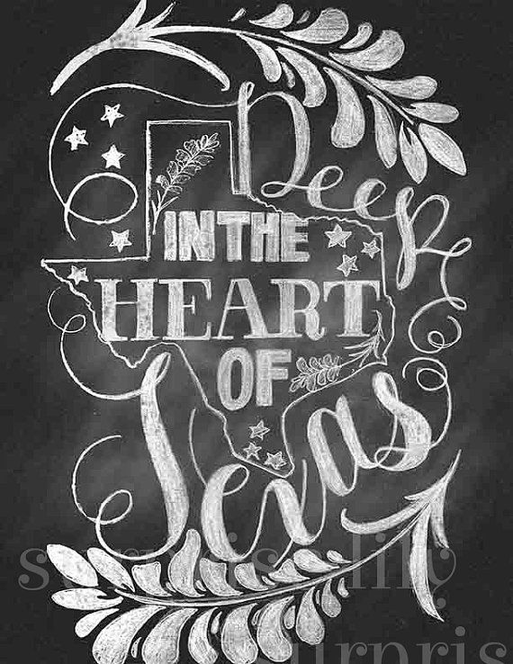 """Chalkboard Hand Lettering Texas State Chalk Illustration """"Deep In The Heart of Texas"""" Quote  Digital Printable Poster"""