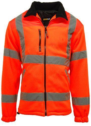 From 16.95 Mens Premium Safety Hi Vis Viz Visibility Lined Work Fleece Jacket orange Medium