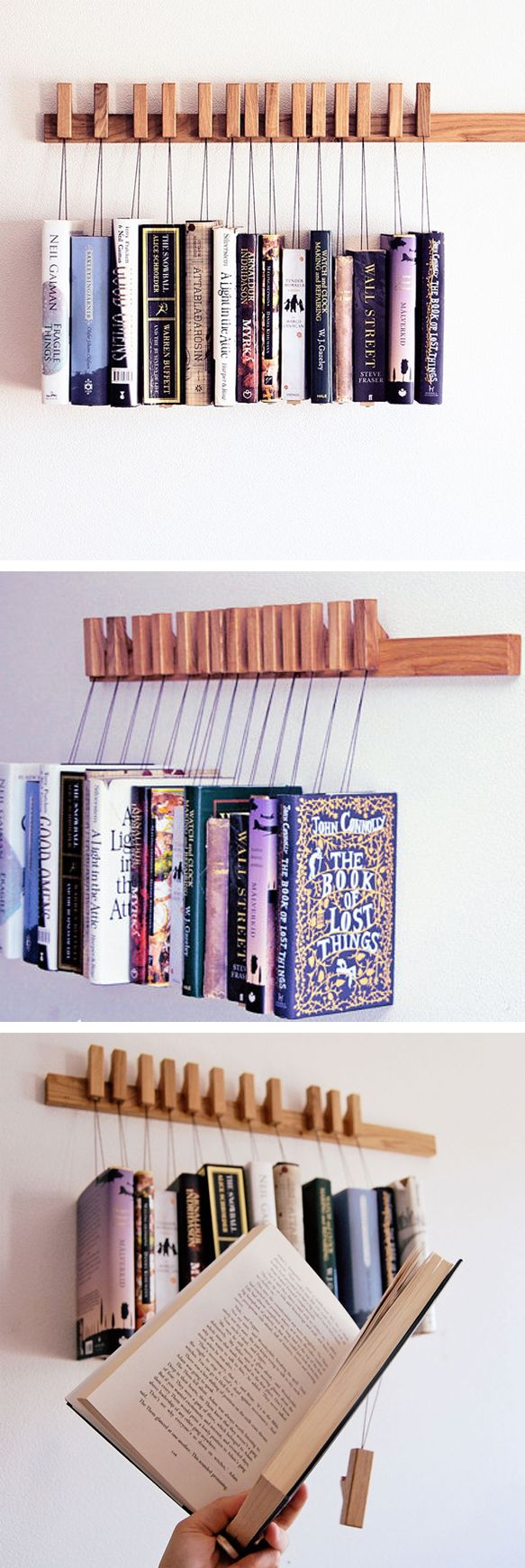 Oak wooden book rack // awesome design!