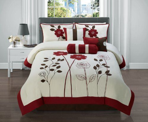 7 Pc Red, Black And Tan Floral Comforter Set / Bed In A