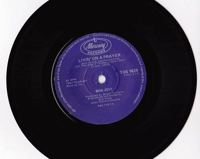 "BON JOVI Livin' On A Prayer 1987 South Africa Issue Rare 7"" 45 Vinyl Single Record Music Rock Pop 80s hair metal TOS1628"