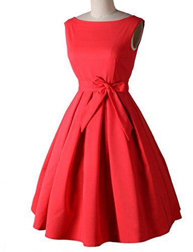 Padgene Klassisch A-Linie Elegant Damen Kleider Französisch Stil Schleife Ärmellos Knielang Kleid (M, Rot) Padgene http://www.amazon.de/dp/B018DVBOS4/ref=cm_sw_r_pi_dp_alZ-wb00M4552
