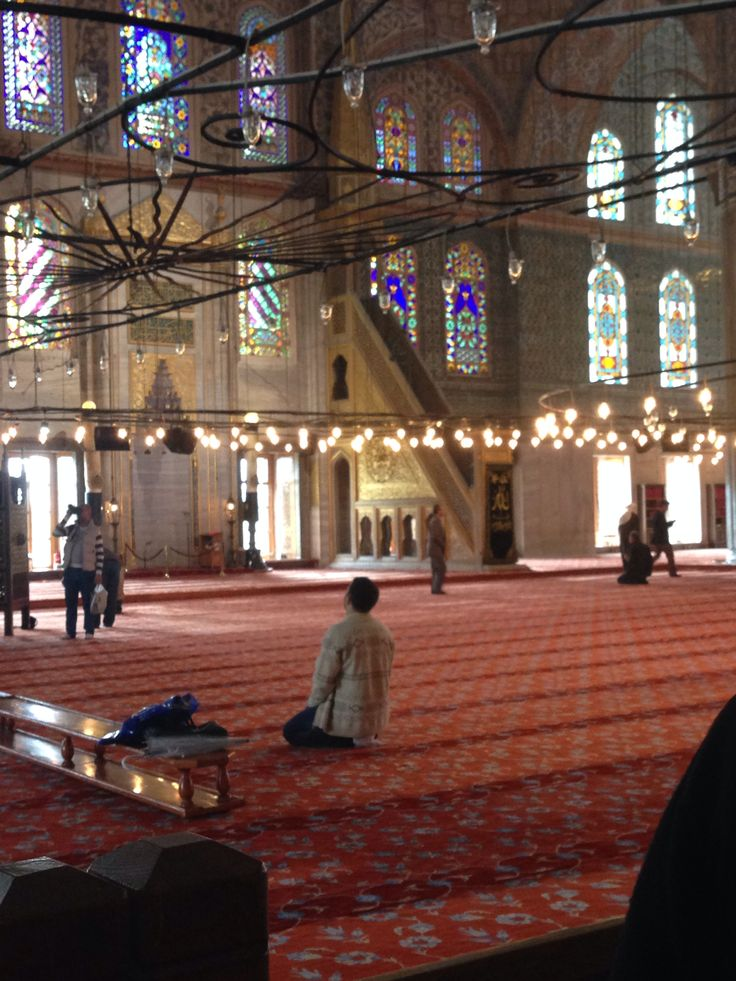 Inside the Blue Mosque in Istanbul, Turkey. Still a functioning mosque that allows visitors.