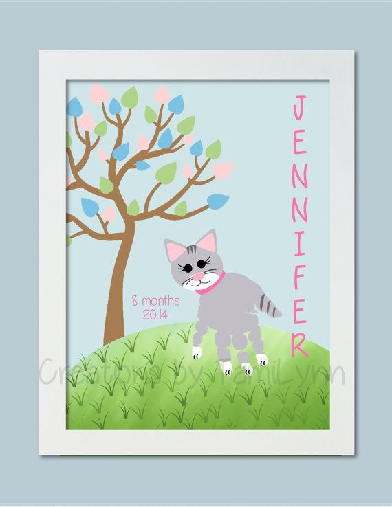 Gray Cat Handprint Art Personalized Baby by CreationsbyTamiLynn, $20.00