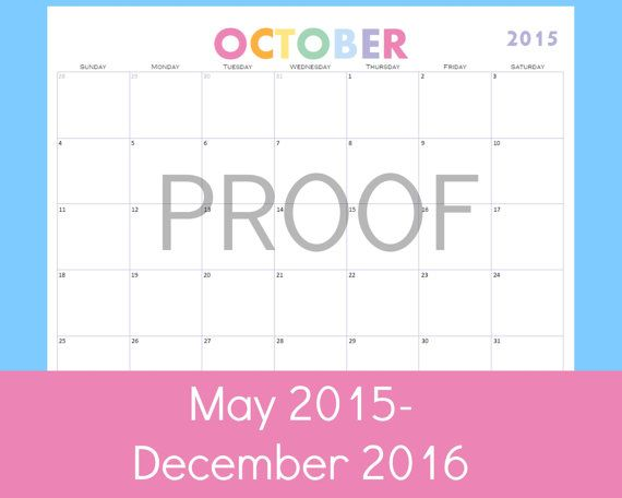 Monthly Calendar Printable- print as many as you want with this instant download.  Great for discbound notebooks