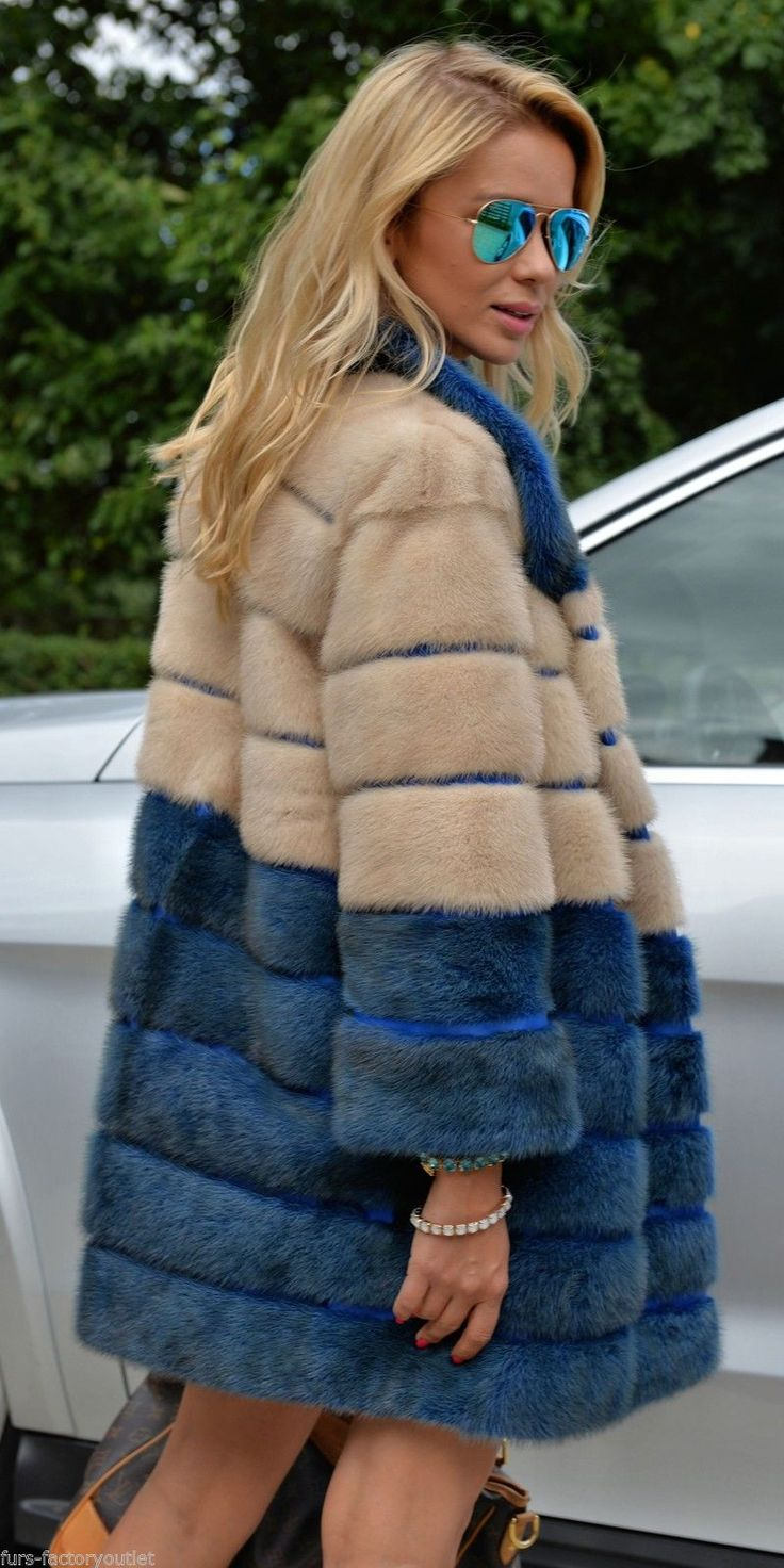 New Multicolor Saga Mink Fur Coat Pearl Blue Class of Jacket Fox Chinchilla Vest | eBay