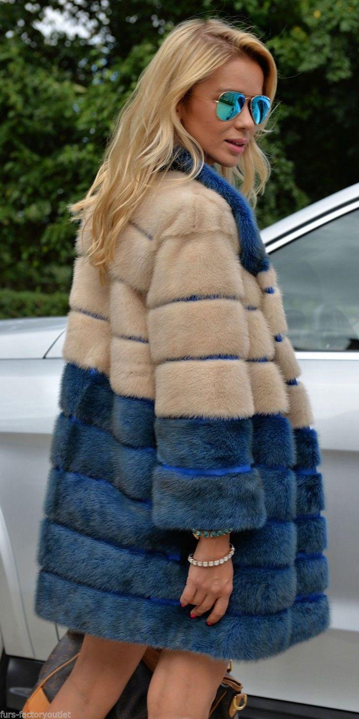 New Multicolor Saga Mink Fur Coat Pearl Blue Class of Jacket Fox Chinchilla Vest   eBay