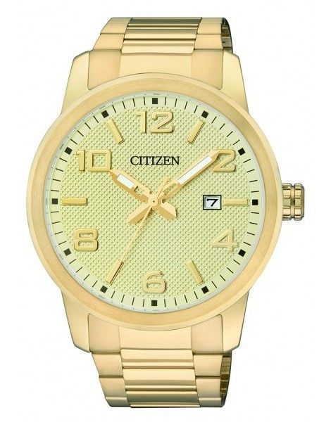 WATCH CITIZEN ROUND YELLOW DIAL STAINLESS STEEL YELLOW GOLD PLATED CASE AND BRACELET DATE W/R - Jons Family Jewellers