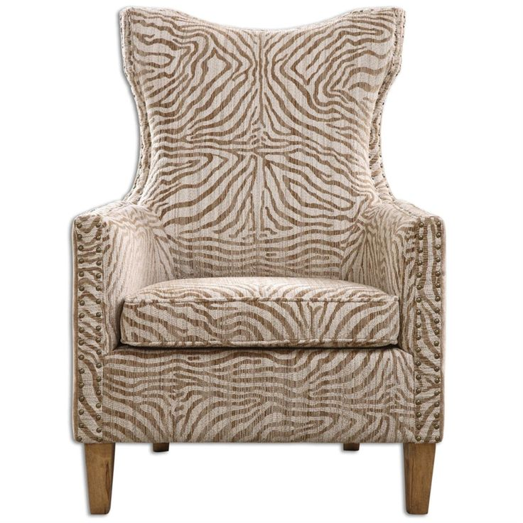 43 Matthew Williams Plush Neutral Toned Animal Pattern Armchair, Brown
