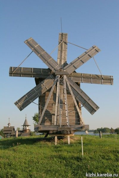 Log windmill  built in 1928, from the village Volkostrov  on Kizhi Island near Lake Onega, Russia