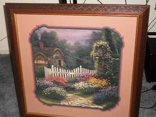 home interiors picture cottage house and flowers 23 x