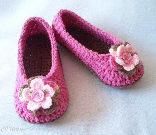Crochet Women's (You Choose Size) Slippers House Shoes Light Raspberry Pink and Cafe Brown