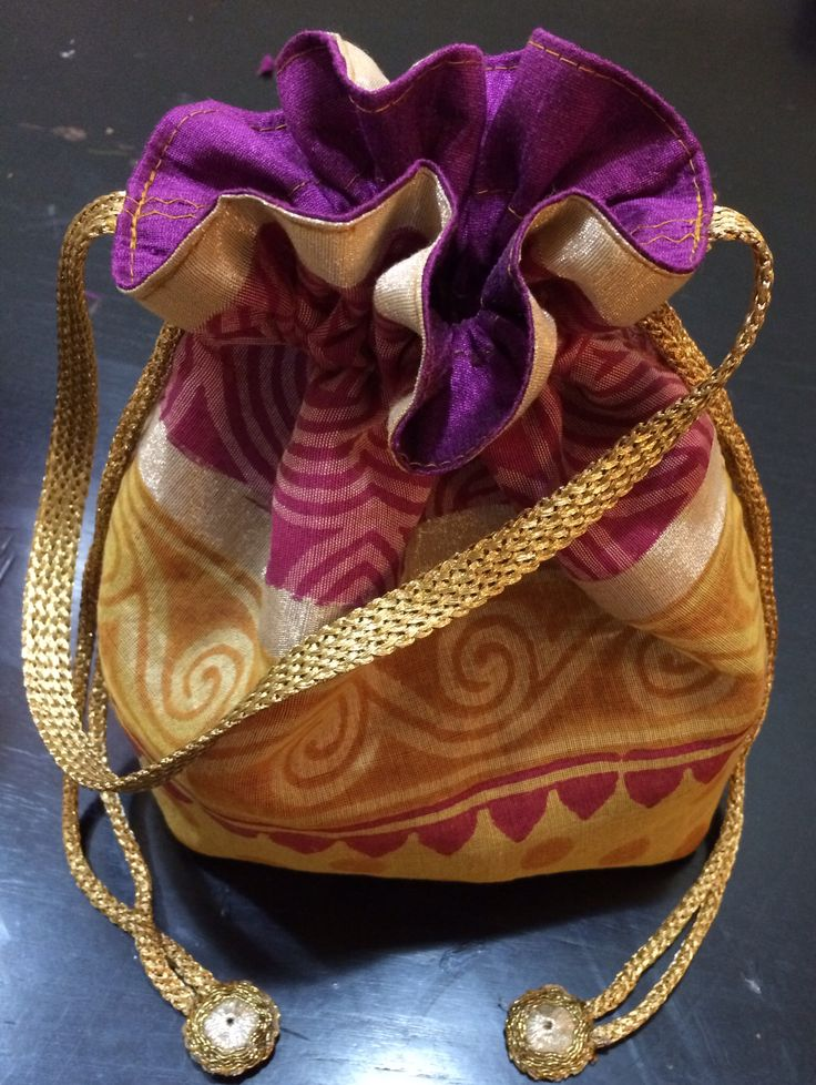 Gold Chanderi Silk Potli Bag