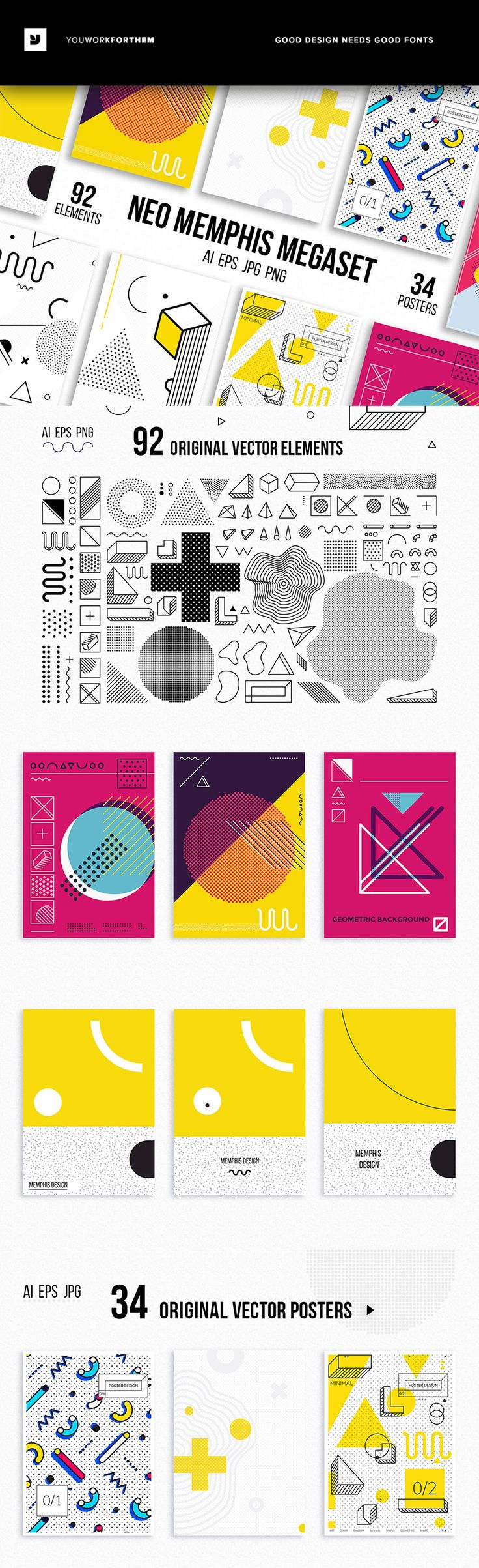 #affiliate Mega set of 34 vector posters and backgrounds, 92 original vector elements for your design. Colorful collection in MEMPHIS styles 80-90s perfect suit for greeting cards, stickers, banners, posters, web, social media, brand book, business card, email, print etc.Includes:- EPS 10 files (34 posters, 92 design elements), RGB- AI CS version files (34 posters, 92 design elements), RGB- 34 JPG posters (various size with high dimension, 5000px one side, 300 dpi),