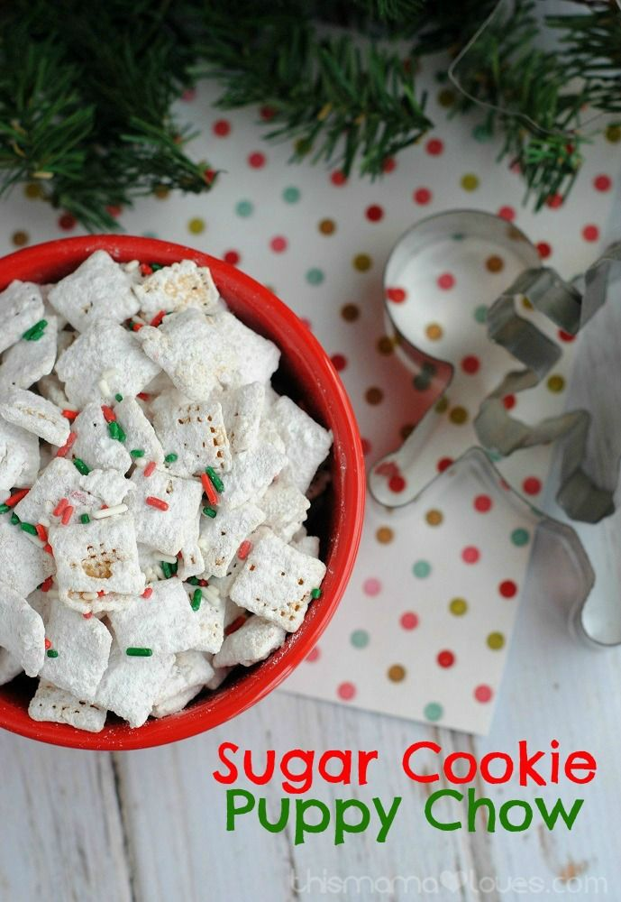 679 best christmas cookies images on pinterest christmas desserts festive holiday themed sugar cookie flavored puppy chow recipe aka muddy buddies from this mama loves solutioingenieria Gallery