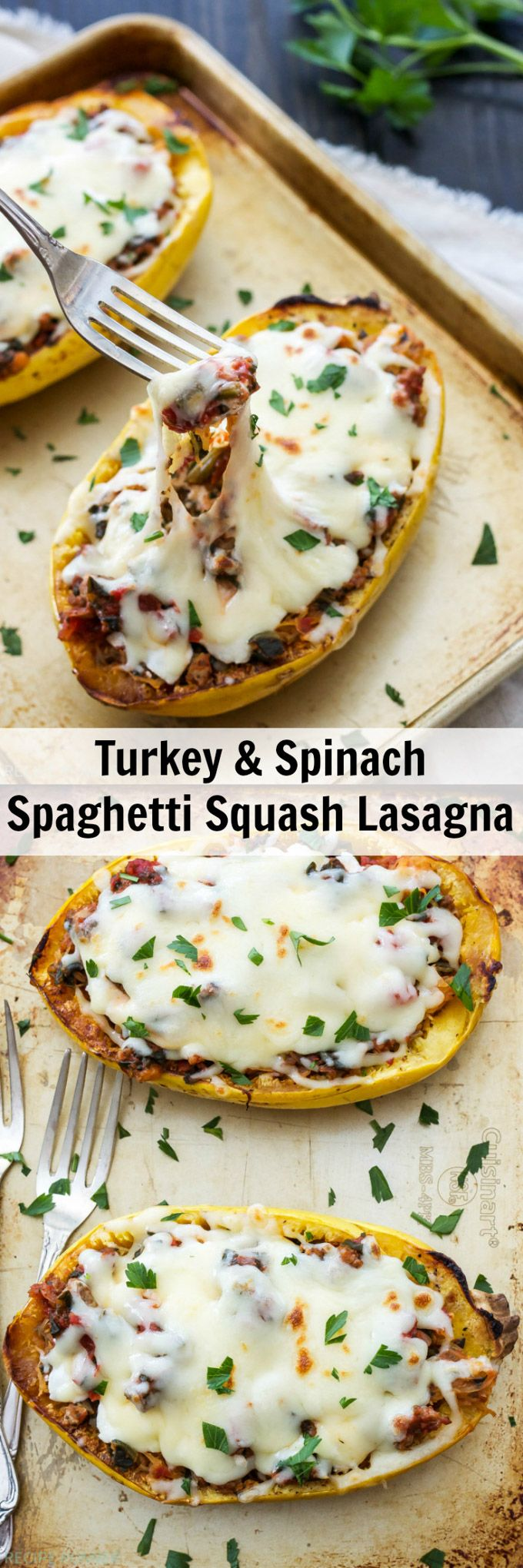 Turkey and Spinach Spaghetti Squash Lasagna   Skip the noodles and make this lighter, lower carb and healthier version of lasagna!
