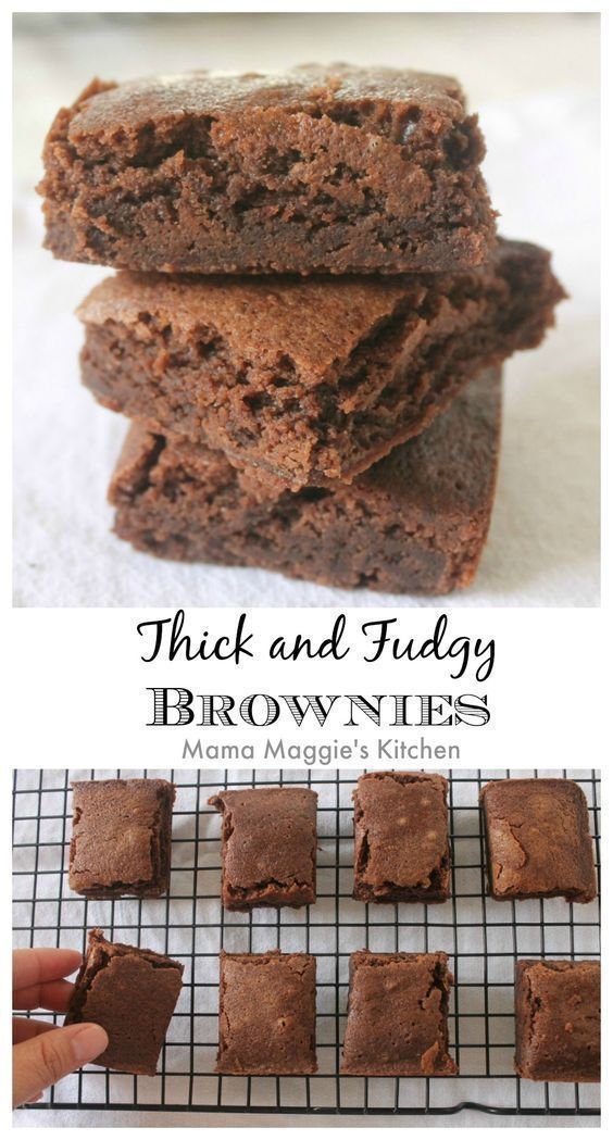 Thick and Fudgy Brownies. You might need to make two batches of these chocolate heaven delights. They are sooooo good! by Mama Maggie's Kitchen