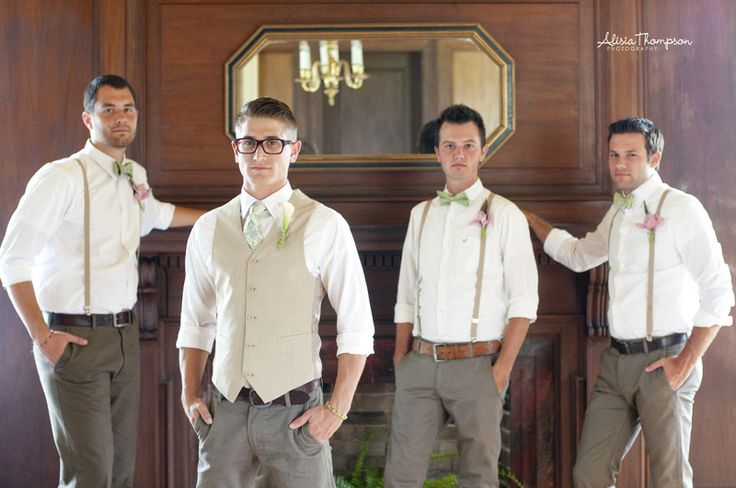 groomsmen: suspenders, bowtiers, rolled up shirts, dress slacks, converse or boat shoes. Zaine will wear vest instead of suspenders.