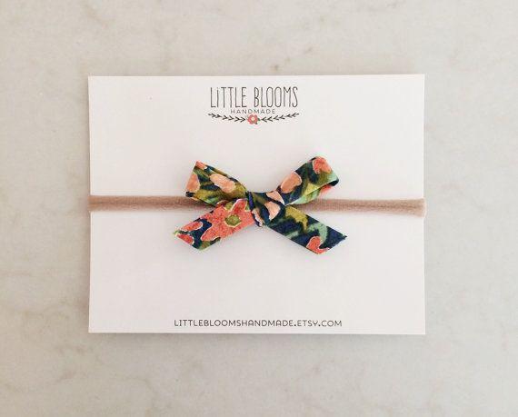 Fabric Bow Headband  hand tied bow  nylon by LittleBloomsHandmade