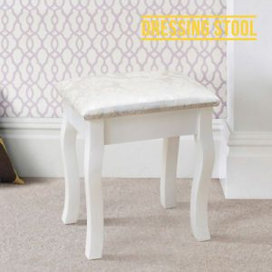 BN Vintage Retro White Dressing Table Stool Padded Chair Makeup Piano Seat | eBay