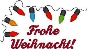 Merry Christmas in German Embroidery Design