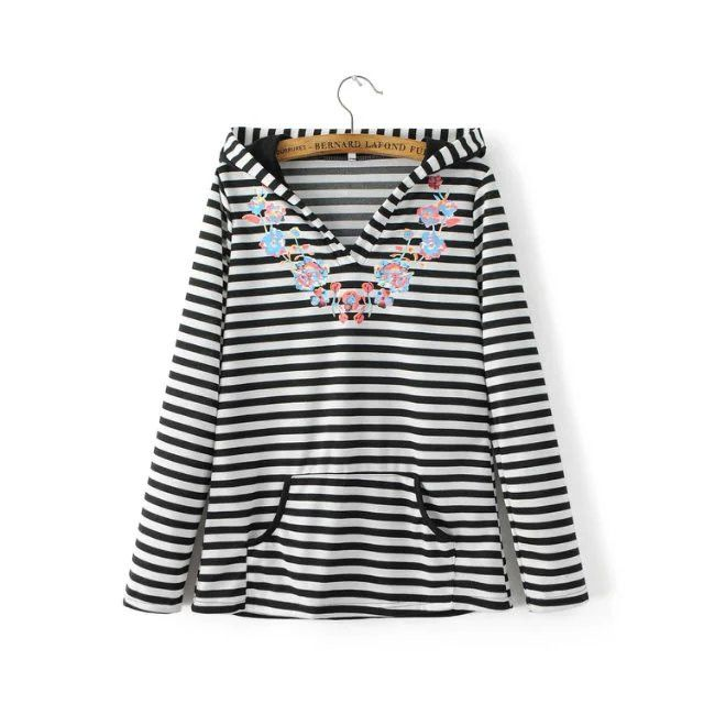 The wind in autumn and winter fashion stamp striped sweater New casual Hooded women Hoodie sweater