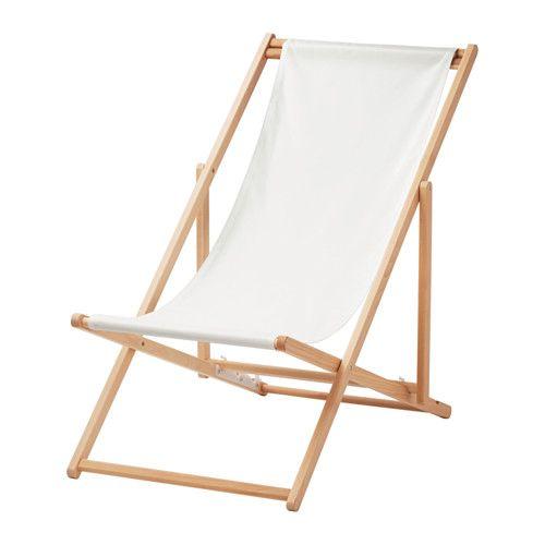 IKEA - MYSINGSÖ, Chaise de plage, pliant blanc,  , , Facile à nettoyer et à lui conserver sa fraîcheur car le tissu est amovible et peut être lavé à la machine.