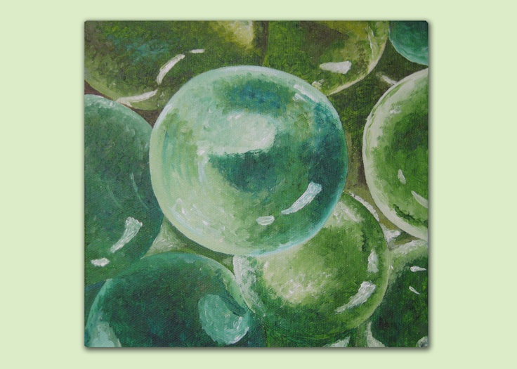 Green Marbles. Acrylics on canvas by Laura Bridgford Art