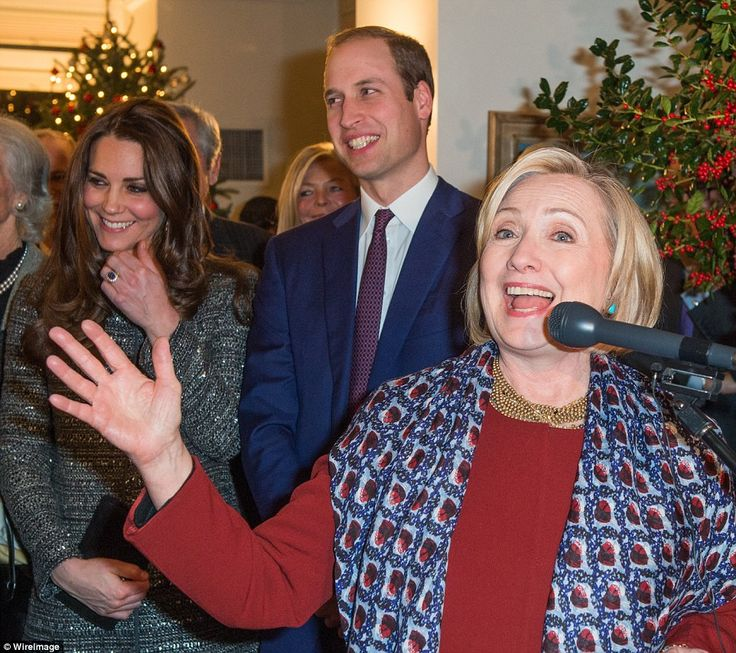 Speech: Prince William (second right) and his wife, Kate (far left), were reunited as they...