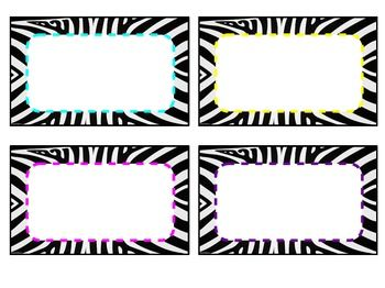 Editable Classroom Zebra Labels $1