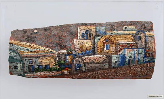 Santorini Mosaic Wall Art Lava Rock Original Handmade Greek