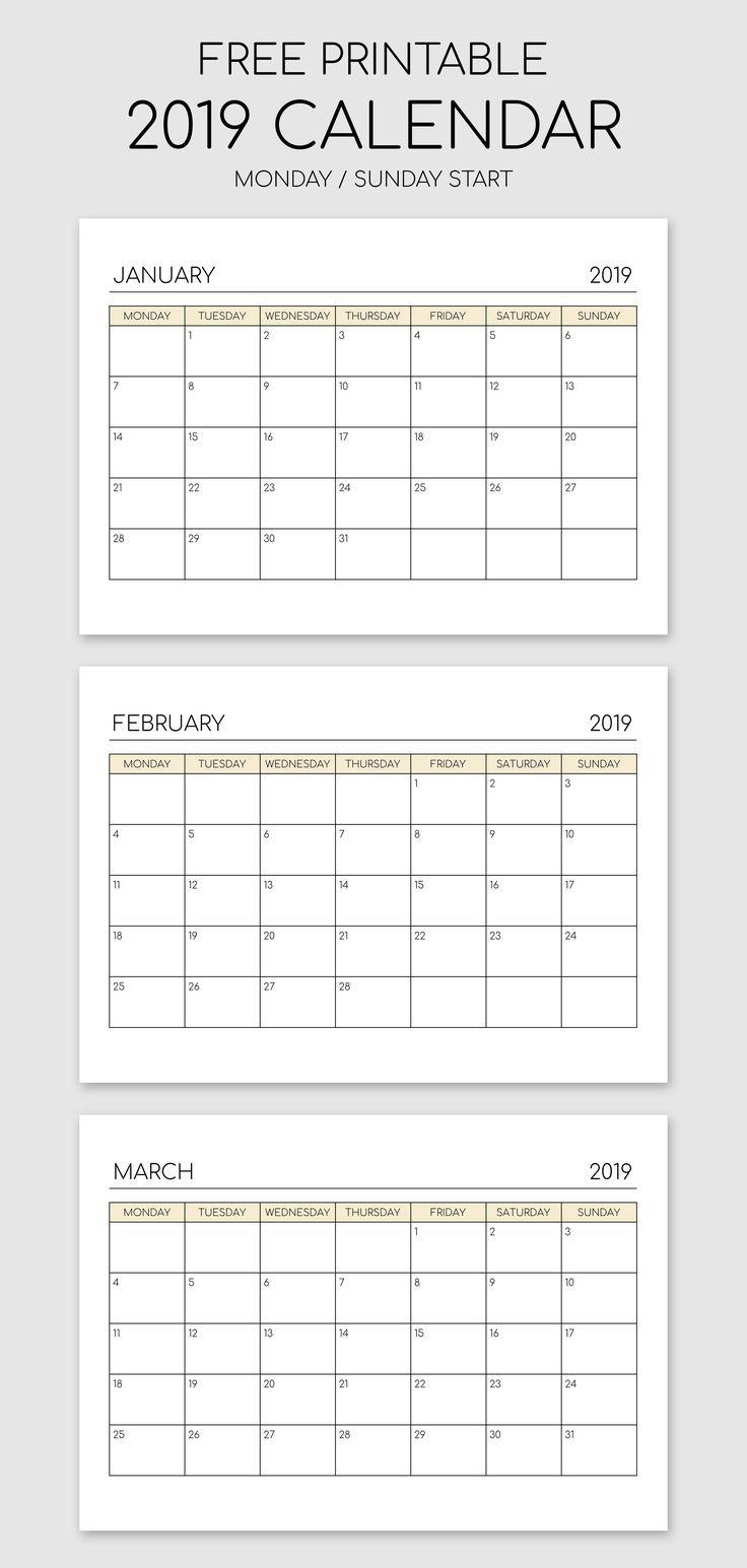 Printable 2019 Calendar Landscape Orientation Landscape Calendar Calendar 2019 Printable Calendar Printables