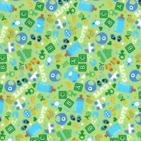 Printed Flannelette -  Baby's collection - Green Mint