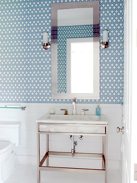 tiny but tricked-out powder rooms; fresh, clean; love the vanity, fixtures and paper; Height advantage (© Mabley Handler Interior Design)