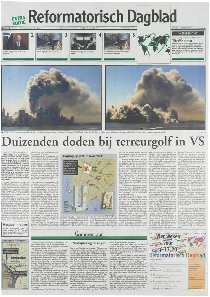 Zo zag de voorpagina van het RD er uit op 12 september 2001, een dag na de aanslagen in de Verenigde Staten.