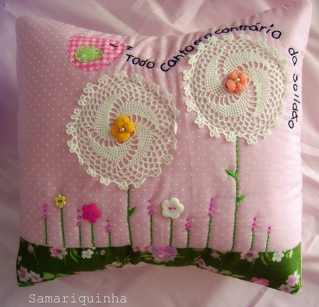 """amazing===I've made simple pillows with flowers made out of buttons and thread with the saying along the bottom border: Flowers For Thee, With Love from me..............written out with a fabric paint pen. I gave them as gifts and sold them at our families """"Holiday Hand-made items sale"""". This gives me ideas to kick mine up a notch.~Dee"""