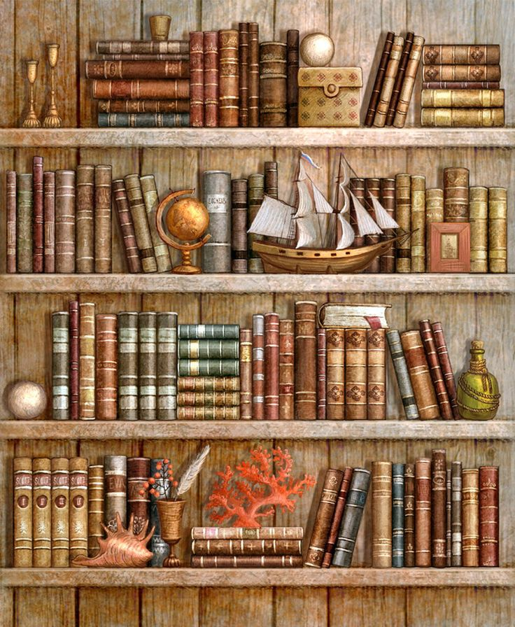 Bookcase with a Ship - Counted cross stitch pattern in PDF format by Maxispatterns on Etsy