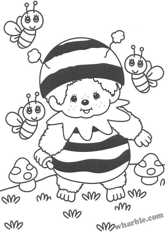 Bumble Bee Monchhichi Coloring Page