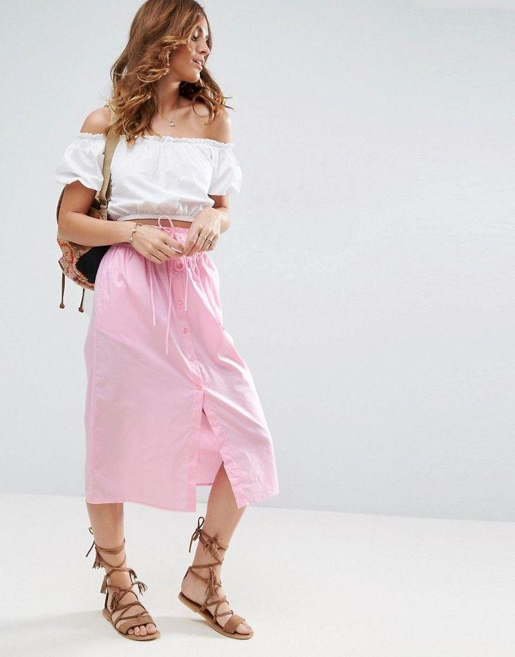 ASOS Midi Skirt Button Through - Pink