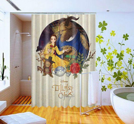 Disney Movie Beauty And The Beast Pattern Art Custom Design Shower Curtain 60x72