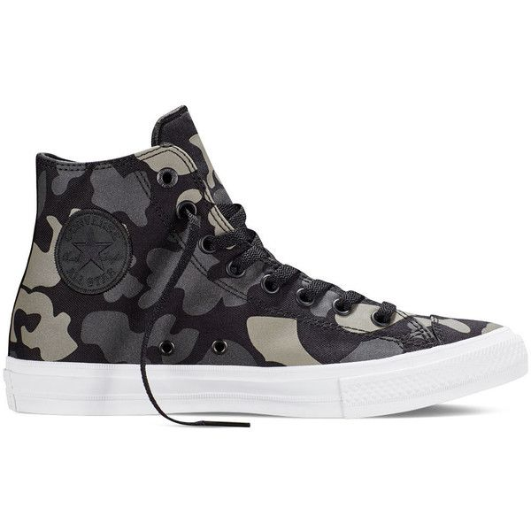 Converse Chuck Taylor All Star II Reflective Camo  –... (£31) ❤ liked on Polyvore featuring shoes, sneakers, converse trainers, star sneakers, black and white sneakers, black white shoes and charcoal shoes