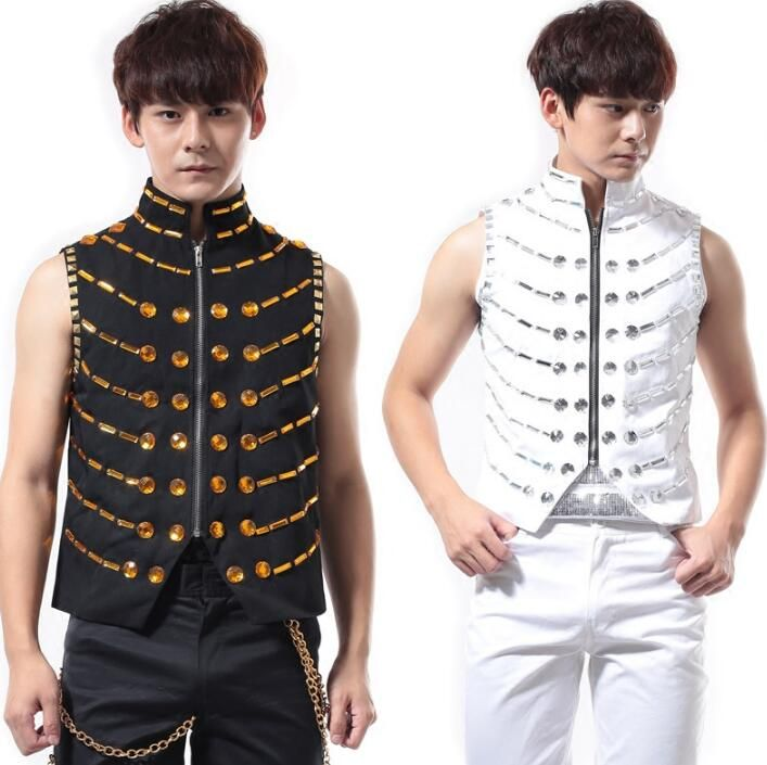>> Click to Buy << White black summer style personality slim male vest men punk rock costumes singer dance stage fashion street star style dress #Affiliate